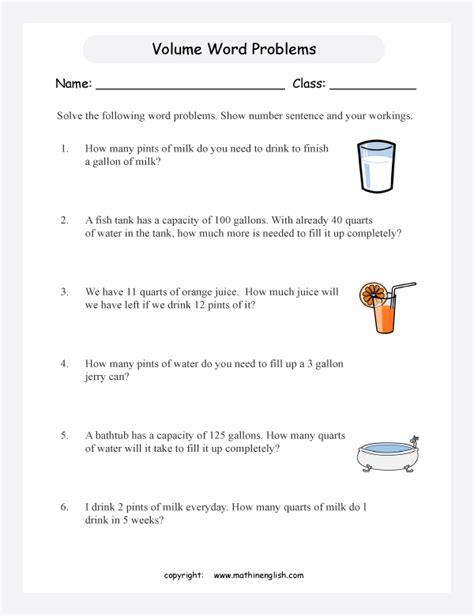 word problems volume worksheets printable primary math worksheet