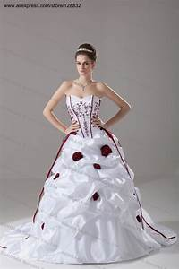 Plus size wedding dress burgundy embroidery ivory white for Maroon dresses for wedding