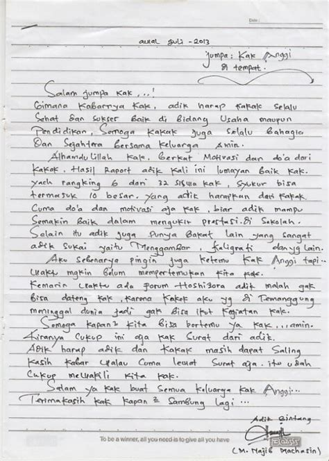 Contoh Surat Untuk Ibu by Contoh Surat Pribadi Untuk Kakak Contoh Surat
