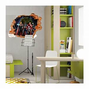 Mur Trompe L Oeil : sticker trompe l 39 oeil 3d mur d chir avengers ~ Melissatoandfro.com Idées de Décoration