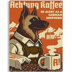 German Shepherd Dog Coffee Ad Metal Sign Vintage Style Pet
