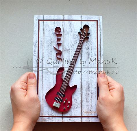 quilled bass guitar paper graphic quilling  manuk