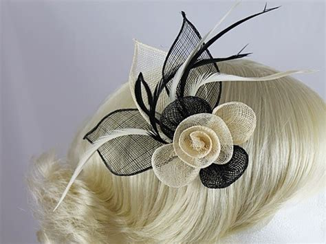 Wedding Hats 4u  Black And Cream Flower Fascinator 4478