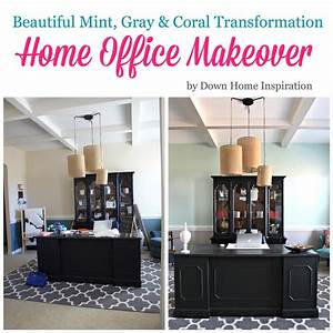 Home Office MakeoverBeautiful Mint Gray Coral