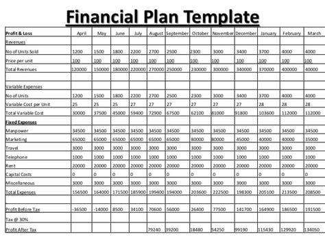 8+ Financial Plan Templates Excel