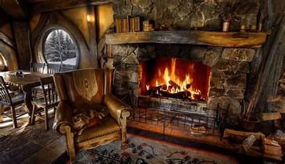 Fire Fireplace Cabin Cozy Snow Winter Crackling