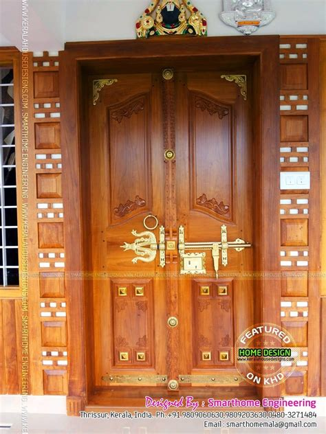 kerala wooden front double door designs double doors