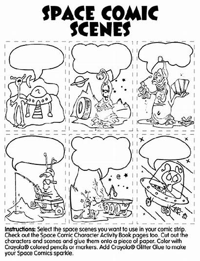 Comic Space Scenes Coloring Pages Crayola