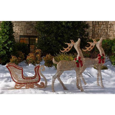 pre lit glittering reindeer  sleigh sams club