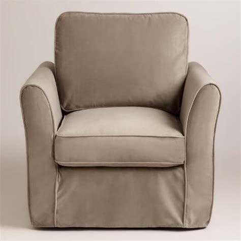 mink brown velvet loose fit luxe chair slipcover world