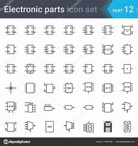 Electric And Electronic Circuit Diagram Symbols Set Of Digital Electronics  Flip