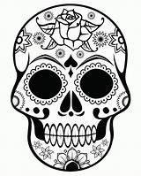 Coloring Skull Sugar Printable Comments sketch template