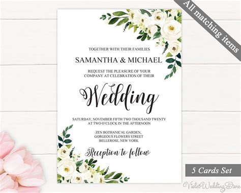 greenery  gold wedding invitation set template