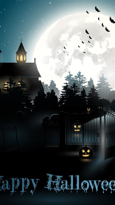 wallpaper halloween moon cemetery night pumpkin