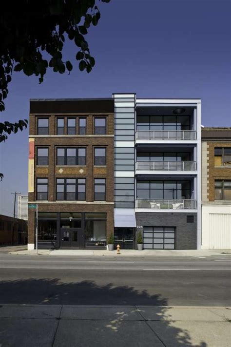 tv and storage unit contrasting architectural facades fourth lofts