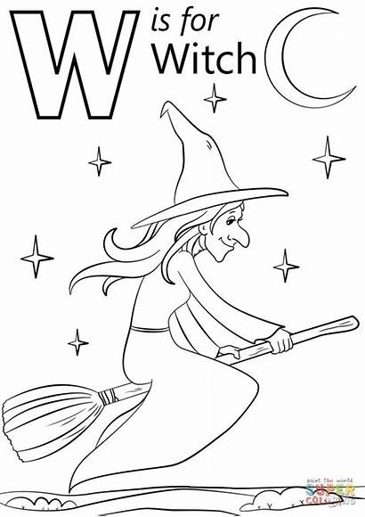 Witch Coloring Letter Witches Printable Halloween Alphabet
