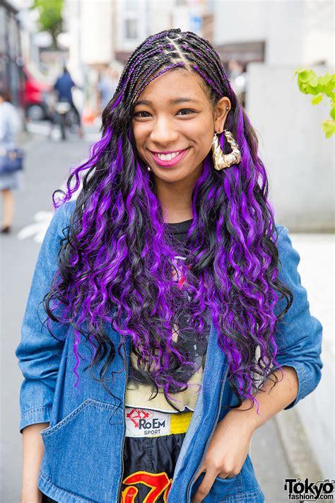 Harajuku Girl W Purple Hair Pin Nap Fashion Nike And Fishnets