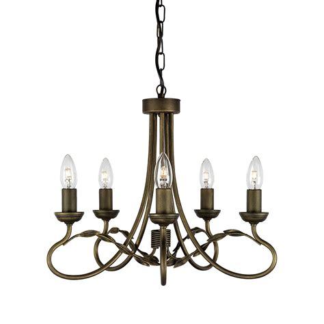 5 light chandelier black gold