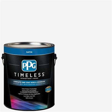 ppg timeless  gal pure whitebase  satin interior paint
