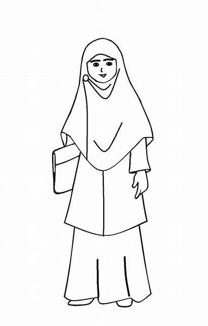 Guru Gambar Kartun Mewarnai Muslimah Sketsa Muslim