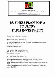 BUSINESS PLAN FOR A POULTRY FARM INVESTMENT
