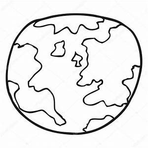 black and white cartoon planet earth — Stock Vector ...