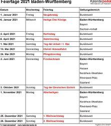 Feiertage, ferien und schulferien 2021 aller bundesländer. Feiertage Baden-Württemberg 2020, 2021 & 2022