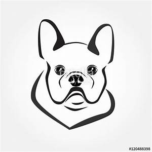 """French bulldog icon vector. Dog head logo. Cute puppy ..."