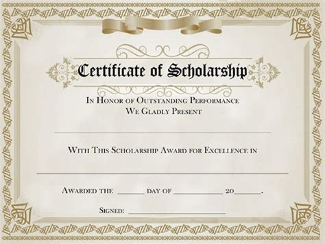 scholarship certificate template 82 free printable certificate template exles in pdf word free premium templates