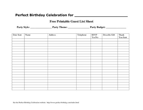 Rsvp Template For Event by Printable Guest List Template Portablegasgrillweber