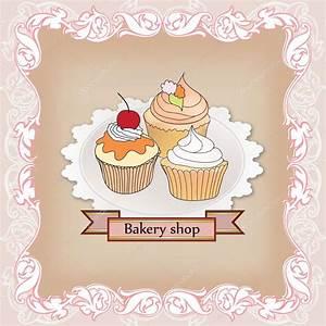 Bakery shop label. Vintage cupcake poster design. — Stock ...