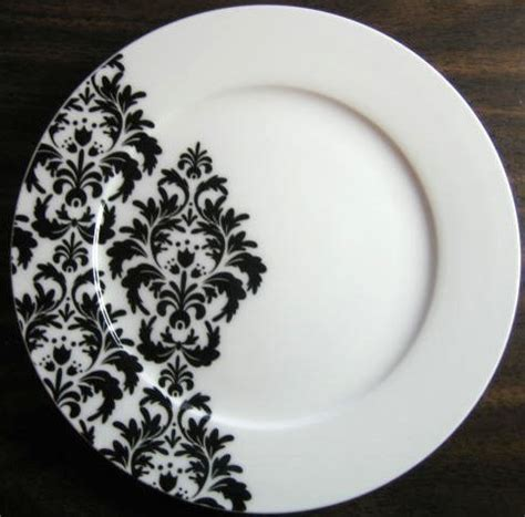 black and white dishes black on white delicate wallpaper damask motif porcelain plate m dinner plates by decorative