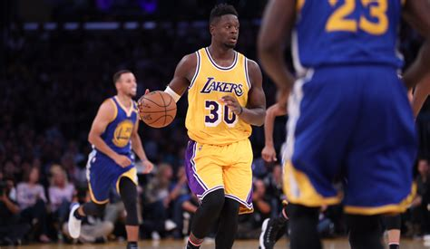 lakers blitz warriors in wire to wire win los angeles lakers
