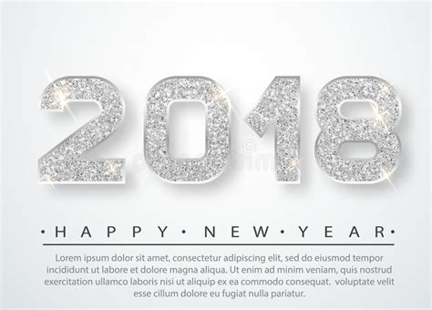 2018 large silver plated number 2018 happy new year stock vector image of greeting
