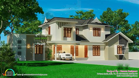 Beautiful Sloped Roof Residence  Kerala Home Design And
