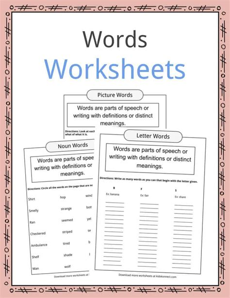 word examples types definition worksheets  kids