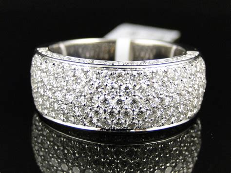mens  white diamond pave engagement wedding band  mm