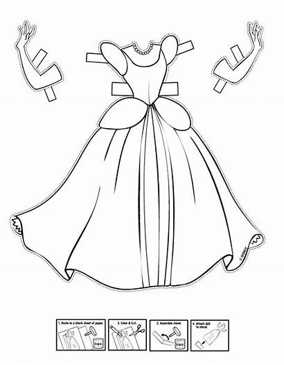 Cinderella Princess Coloring Disney Paper Doll Printable