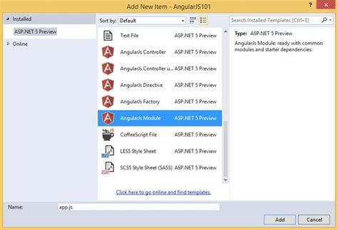 angularjs create template by clicking asp net 5 jump start to angularjs with mvc 6 web api
