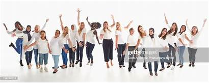 Diverse Celebrating Row Standing Portrait Creative