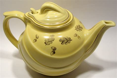 halls parade etsy parade teapot in canary yellow with gold acorns and