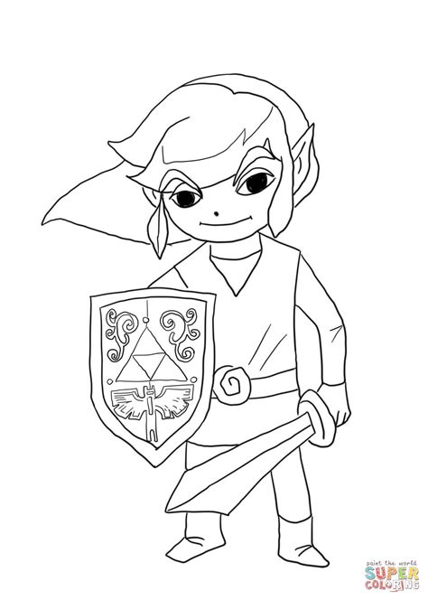 Link From Legend Of Zelda Wind Waker Coloring Page Free
