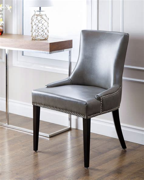 Grey Upholstered Dining Chairs With Nailheads by Abbyson Living Newport Grey Leather Nailhead Trim Dining