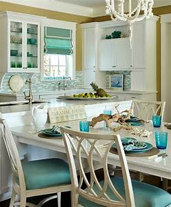Turquoise blue white beach theme kitchen paradise for Kitchen cabinets lowes with sea themed wall art