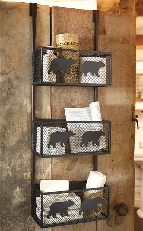 bear bathroom door shelf