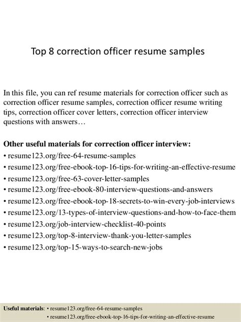 top 8 correction officer resume sles