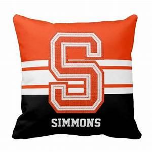 orange sport varsity letter monogram initial s throw With varsity letter blankets