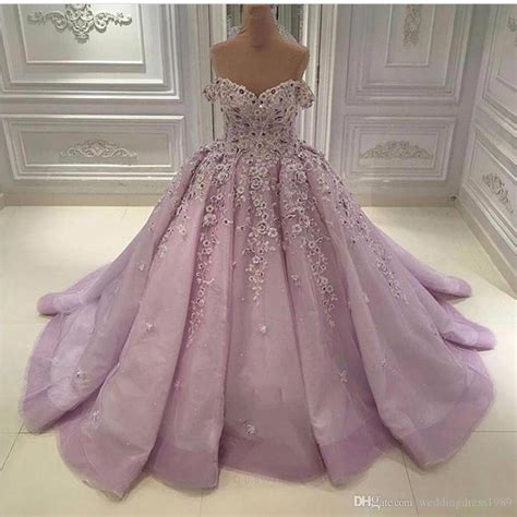 discount luxury beads  shoulder lilac wedding dresses