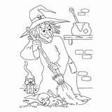 Coloring Halloween Hag Evil Sheet sketch template