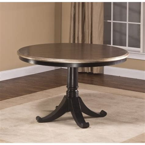 black round pedestal dining table bowery hill round pedestal dining table in black bh 1425694